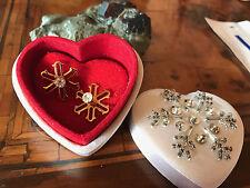 Rare! Vintage Signed Avon Christmas Snowflake Earrings Orecchini Fiocco di Neve
