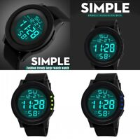 Waterproof Men's Watch Boy LCD Digital Stopwatch Date Silicone Sport WristWatch