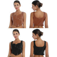 Women's Sexy Corset Crop Top PU Sleeveless Tank Vest Tops Camis Shirt Clubwear