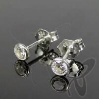 SET 3 PAAR 925 Silber Ohrstecker weiß 2,5mm +3,0mm +3,5mm Solitär Ohrringe TOP