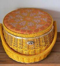 Vintage retro rattan sewing basket orange / yellow