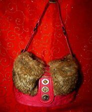 COACH GO4K-9443 PINK QUILTED/PINK LEATHER'RABBIT FUR FOLD OVER HOBO SHOULDER BAG