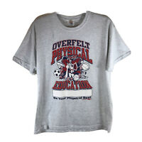 Mens USA T-Shirt Tee Overfelt Physical Education Big Graphic Grey Size L