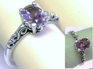 Purple Alexandrite Ring Size 5 Antique 925 Sterling Silver Scroll Color Change