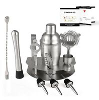Cresimo Home 12 Piece Brushed Stainless Steel Bar Set - Martini Shaker and St...