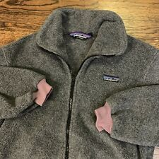 Vtg PATAGONIA Kids Gray Synchilla Fleece Jacket Youth Sz Small 9/10