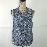 Laundry By Shelli Segal Navy Blue White Blouse Top Women Small MSRP $129.00