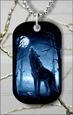 WOLF IN THE MOON LIGHT #7 DOG TAG PENDANT NECKLACE FREE CHAIN -g3w4l