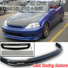 Mu-gen Style Front Bumper Lip (PU) + TR Style Grill (Mesh) Fit 99-00 Civic 3dr
