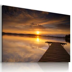 BEACH SEA PIER SUNSET Perfect View Canvas Wall Art Picture Large L315 MATAGA .