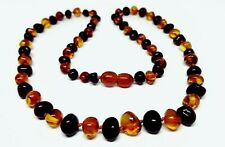 50 CM Genuine Baltic Amber Adult Necklace, Beads Knotted Cognac+Cherry Colours
