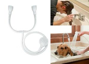 Double Tap Push On Bath Shower Head Sink Hose Hairdresser Spray Pet Cleaner Jet
