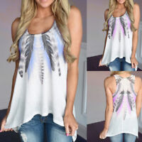 Women Feather Sleeveless Shirts Blouse Casual Tank Tops T-Shirt