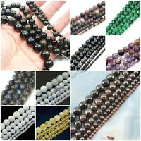 "Natural Gemstone Round Bead 4mm 6mm 8mm 10mm 12mm 15"" strand Wholesale Jewelry"