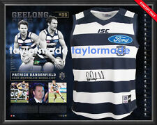 PATRICK DANGERFIELD 2016 AFL BROWNLOW MEDAL GEELONG CATS SIGNED FRAMED JUMPER