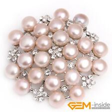 Gold Plated Women Costume Jewelry Fashion Flower Freshwater Pearl Brooch White