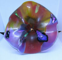 Hand Made Fused Art Glass Unique Wall Hanging Art Glass Wall Flowers Signed  COA