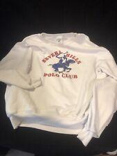 Vintage Beverly Hills Polo Club 1982 White Sweatshirt Blue Polo Rider Large