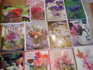 Wholesale Joblot Birthday Greetings Cards X 30 Flowers Floral Beautiful