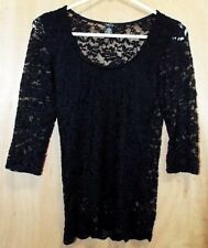 Rue 21 Ladies Black Lace 3/4 Sleeve Stretch Top W/ Lining Scallop Bottom Trim S