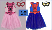 Girls Spidergirl Costume Dress Up Superhero Spider man girl Fancy Dress Size4-11