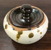 Art Pottery Spotted Bowl Crock with Lid - Signed LB