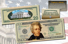 TWENTY DOLLAR $20 U.S. Bill Genuine Legal Tender Currency COLORIZED 2-SIDED