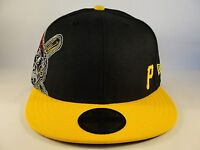 MLB Pittsburgh Pirates New Era 59FIFTY Fitted Hat Cap Big Stitch Black Gold