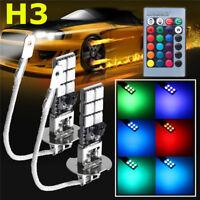 2x H3 5050 RGB LED 12-SMD Car  Fog Light Lamp Bulb + Remote Control