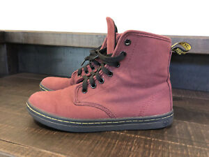 Dr. Martens Shoreditch Cherry Red Maroon Canvas Boots Shoes Womens Size 7