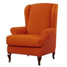 Wingback Chair Slipcover Stretch Jacquard Sofa Cover Elastic Bottom Orange
