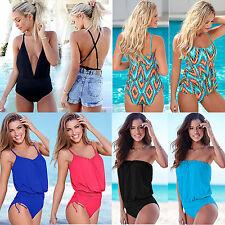 donna costume intero da bagno Tankini (TOP + slip) spiaggia push up bikini