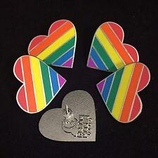 "5 pack of 1"" LGBT pride rainbow heart shaped hard enamel pins"
