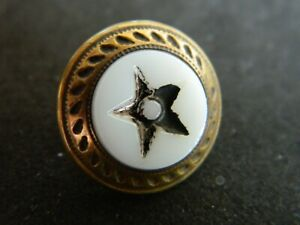 Antique Charmstring Waistcoat Button w White Glass in Brass w 1 HEART Design