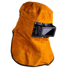 Leather Hood Welding Helmet Masks Eye Face Protective With Clear Glasses