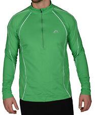 More Mile Alaska Mens Half Zip Thermal Running Top Green Hi Viz Long Sleeve