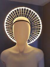 Sculptural fashion wearable art.Virgin Mary LED headpiece .Burning Man Festival.