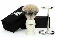 PURE SILVER TIP BADGER HAIR SHAVING BRUSH IN WHITE HANDLE & BRUSH STAND.FOR HIM
