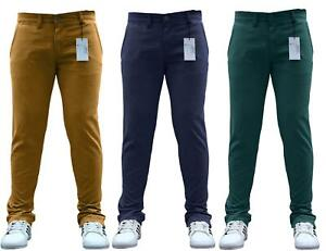 Chinos Jeans Fit Trousers Skinny Stretch Pants Waist Casual Regular Designer