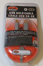 Geek Squad 6' A-B USB Gold Cable GS-6UAB w/ Customizer Rings gold plated NEW