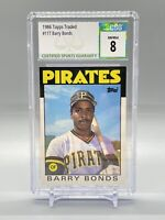 Barry Bonds 1988 Topps Traded Rookie Card (RC) #11T- CSG 8-NM/Mint