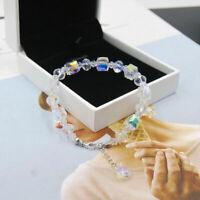 "7""-9"" Beautiful Aurora Austria Crystals Bracelet 925 Silver Adjustable Wedding"