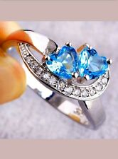 BLUE HEART CRYSTAL RHINESTONE WEDDING ENGAGEMENT RING SIZE 7