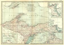 MICHIGAN. North; Inset Straits of Mackinac, St Marys River 1903 old map