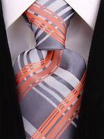 Scott Allan Mens Formal Plaid Necktie - Silver / Gray / Salmon Mens Tie