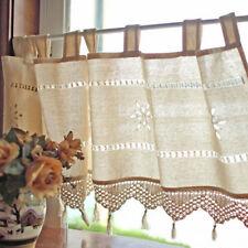 Vintage Hand Crochet Lace Trim Curtain Window Cotton Linen Blackout Drapes