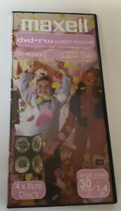 Mini DVD + RW Maxell 8cm 1.4gb 30 min. for Camcorder. Slipcase 4 Disc Set .