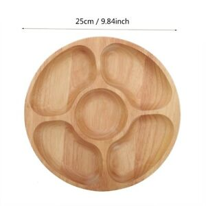 Wooden Round Shape Food Divided Plate Dessert Snack Sub-grid Dish Tableware Tray