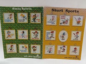 Short Sports & Sassy Sports Cross Stitch Pattern Leaflets Lot of 2 1979