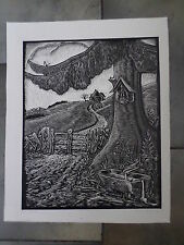 Beautiful German? signed woodblock engraving of tree & a house on a hill